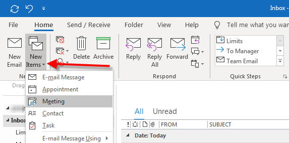 setup new meeting with outlook 365