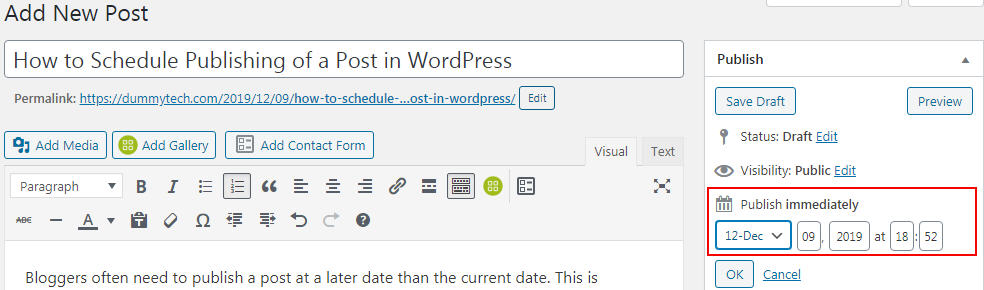 wordpress schedule publishing post