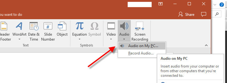 powerpoint background music select audio