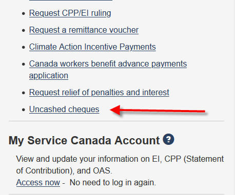 cra uncashed cheques