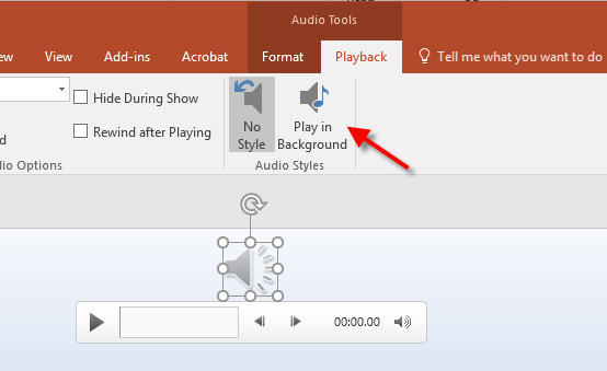 play in background option in powerpoint