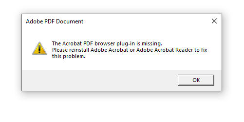 acrobat pdf browser plugin is missing error dialog box