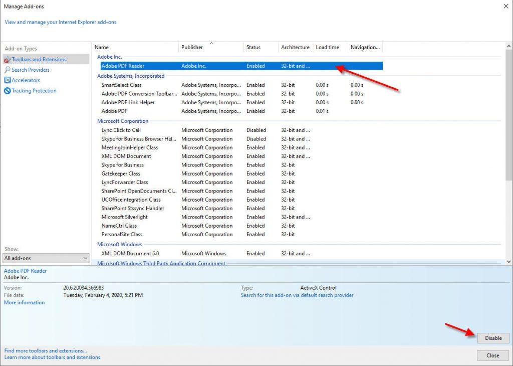 disable adobe acrobat reader to fix acrobat pdf browser plug-in is missing error