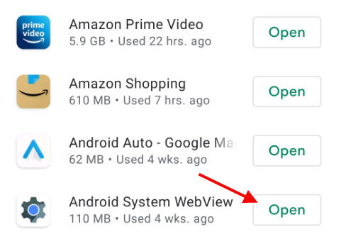 uninstall android system webview app